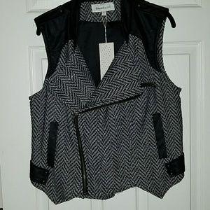 Herringbone moto vest.